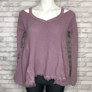 Free People Moonshine Purple V Neck Sweater